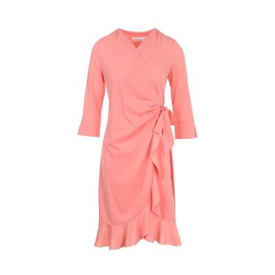 ruffle detail wrap dress pink
